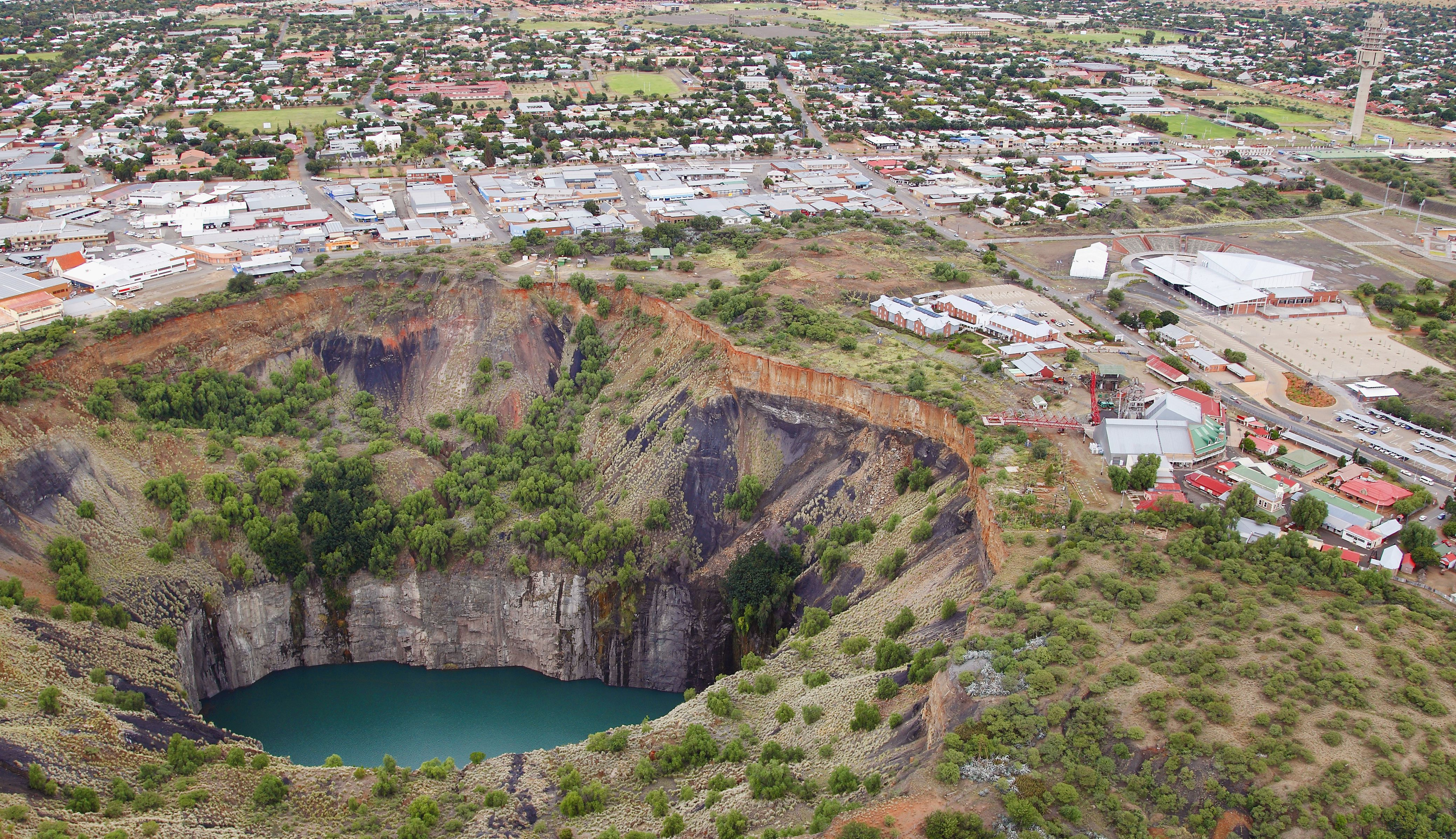 An aerial view of the big hole with Kimberley in the background. Kimberley Northern Cape Province South Africa.
