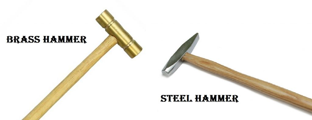 brass and steel hammers