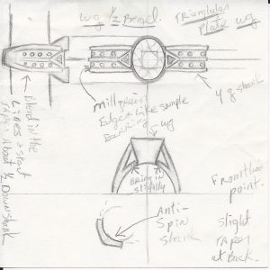 A counter sketch of a ring with construction details.